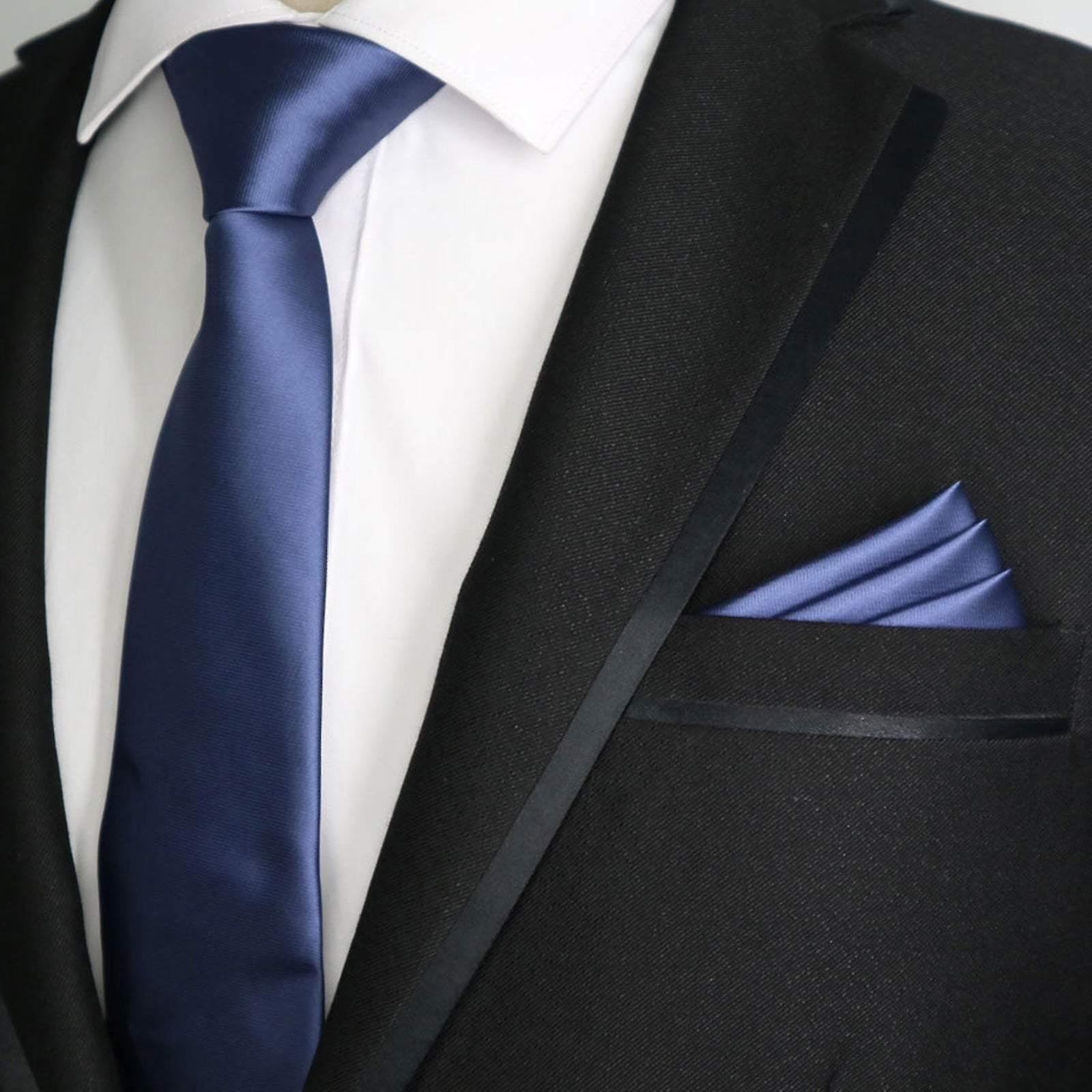 Slate blue solid satin finish slim tie & pocket square