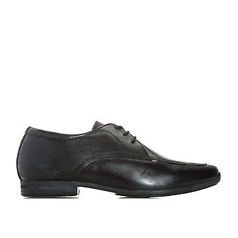 Junior Boys Hush Puppies Jake Shoes In Black- Lace Fastening- Interchangeable