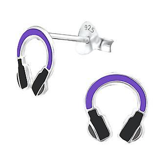 Prata esterlina fones de ouvido Stud brincos para crianças