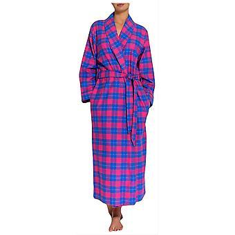 Boxers britânicos tartan duas vezes robe de flanela-rosa/azul