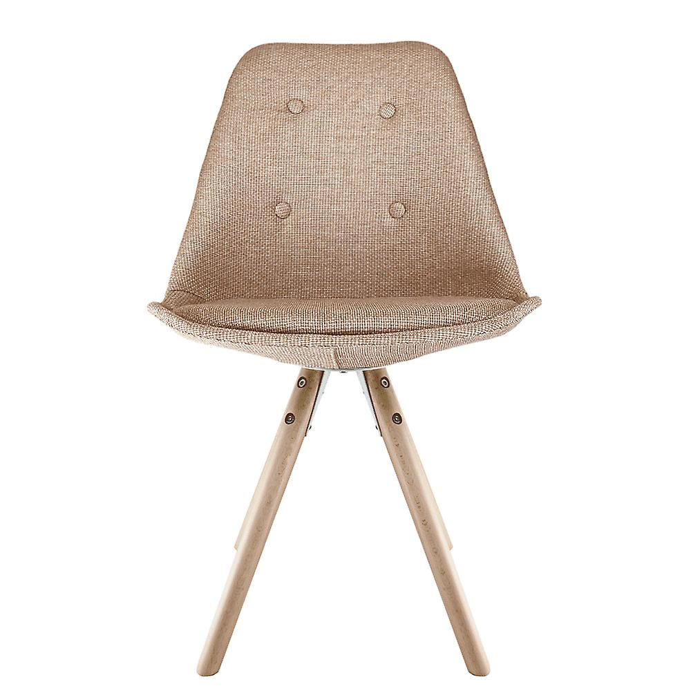 Fusion Living Eiffel Inspiré Beige Fabric Dining Chair with Pyramid Light Wood Legs Fusion Living Eiffel Inspiré