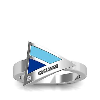 Spelman College Engraved Sterling Silver Diamond Geometric Ring In Sky Blue and Blue