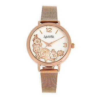 Sophie and Freda Lexington Bracelet Watch - Rose Gold/White