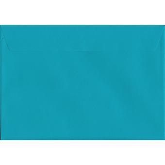 Caribbean Blue Peel/Seal C4/A4 gekleurde blauwe enveloppen. 120gsm luxe FSC gecertificeerd papier. 229 mm x 324 mm. portemonnee stijl envelop.