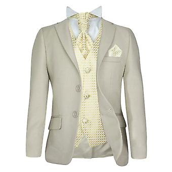 5 PC Boys Formal Cravat Beige & Choice of Waistcoat Suit