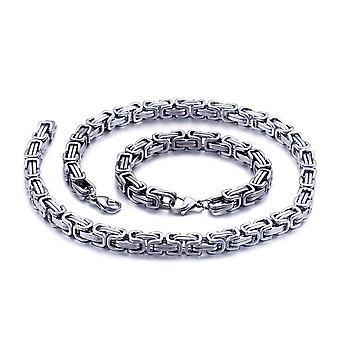 5mm królewska bransoletka łańcuszkowa męski naszyjnik męski naszyjnik, 21 cm srebrne łańcuchy ze stali nierdzewnej