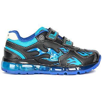 Geox Boys Android J9444C Lights buty sportowe czarny lt niebieski
