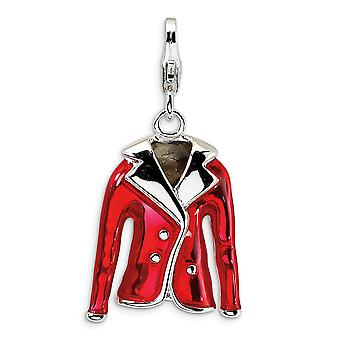 925 Sterling Silver Polished Red Enamel Rhodium plated Fancy Lobster Closure 3 D Enameled Red Jacket With Lobster Clasp