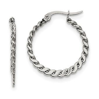 Stainless Steel Polished 20mm Textured Hoop Earrings