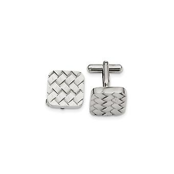Stainless Steel Getextureerde Gepolijste Weave Design Manchet links sieraden geschenken voor mannen