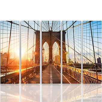 Five Part Picture On Canvas, Pentaptych, Type C, Sunrise On The Bridge
