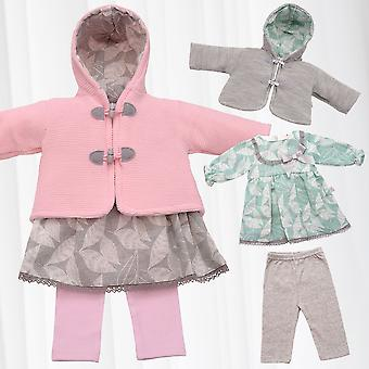 Girls Clothing Set 3 Piece Dress Hooded Jacket Pants Knitted Combi Warm Baby