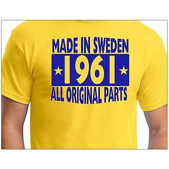 Camiseta amarela feita na Suécia 1961 Todas as peças originais