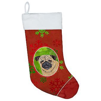 Pug røde og grønne snefnug ferie jul julen strømpe SC9411