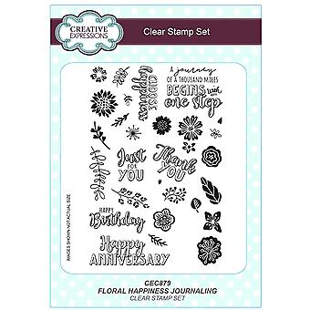 Creative Expressions A5 Clear Stamp Set - CEC879 Journalling - Floral Happiness