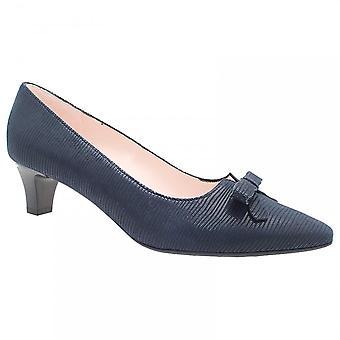 Peter Kaiser Sansa Navy Low Heel Bow Court Shoe