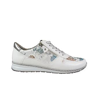 Ara Sapporo 52460-77 White/Multi Coloured Womens Zip/Lace Up Casual Trainers