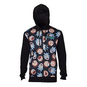 Rick & Morty ansikten zippade hoodie svart-Large (HD665437RMT-L)