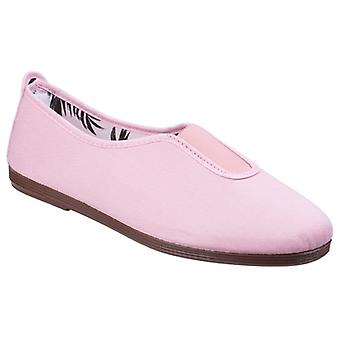 Flossy Califa Ladies Canvas Slip On Plimsolls Baby Pink