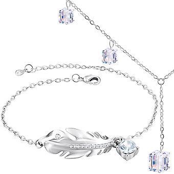 Necklace and bracelet with swarovski crystal. rhodium plated. by 2splendid. 2 for 1. gift box included. bnqz042