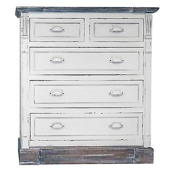 Charles Bentley Shabby Chic Vintage Style Chest of 5 Drawers White Bedroom Furniture