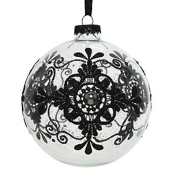 10cm sierlijke zwarte glitter verfraaid helder glas kerstboom bauble