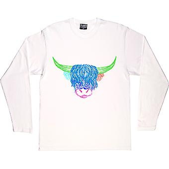 Psychedelic Cattle Variant Two White Long-Sleeved T-Shirt