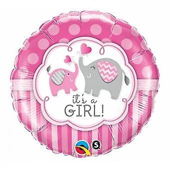 Qualatex 18 Inch Round Its A Boy/Girl Elephant Design Foil Balloon