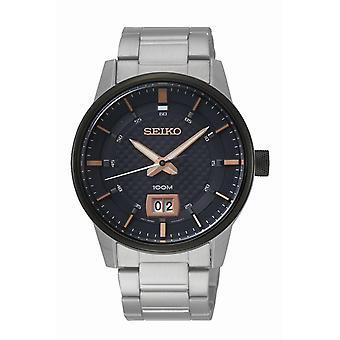 Uhr Seiko SUR285P1 - Dateur Silber Leder Armband Box und Stahl schwarz Männer