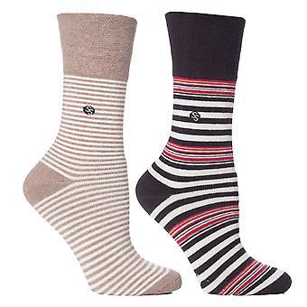 Womens Fawn Stripe Cushion Foot Honeycombe Top Gentle Grip Sock By Sock Shop 4pk