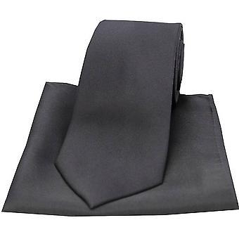 David Van Hagen Satin Silk Tie and Pocket Square Set - Charcoal Grey