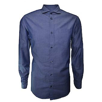 Armani Jeans Men's Navy Blue Pin Stripe Long Sleeve Shirt