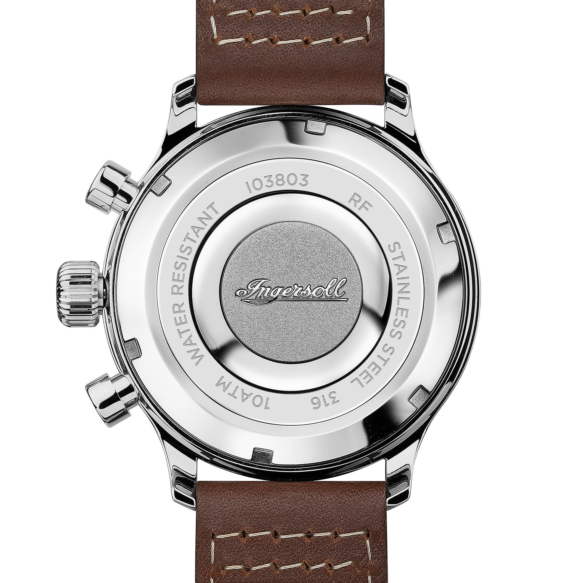 Ingersoll The Apsley Quartz Chronograph Blue Dial Brown Leather Strap Mens Watch I03803 45mm