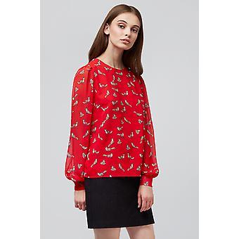 Louche Eunice Fox Print Blouse Red
