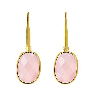Boucles d'oreilles Gemshine OVAL rose quartz pierres précieuses 925 plaqué argent ou or