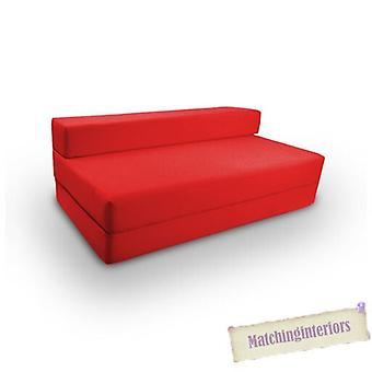 Ready Steady Bed Double 2 Seater 100% Cotton Twill Fold-Out Zbed Futon Mattress, Red