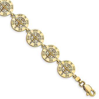 14k Ouro Mini Pulseira de Bússola Náutica 2 d e Alto Polonês 7,25 Polegadas Joias Presentes para Mulheres