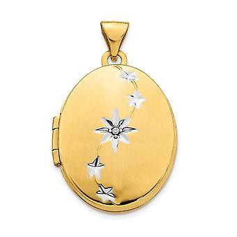 14k Geel goud en wit Rhodium geborsteld gepolijst Diamond Stars Oval Foto Locket Hanger Hanger Sieraden Geschenken voor Wo