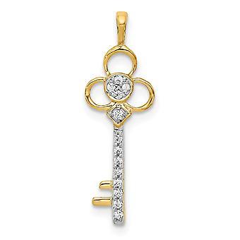 14k Gold Diamond Club Nøglering Slide smykker Gaver til mænd - 0,07 dwt
