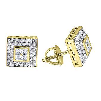 925 Sterling Silver Pánské žlutý tón CZ Cubic Zirconia Simulované Diamond Princess Cut náměstí Stud náušnice šperky dárky