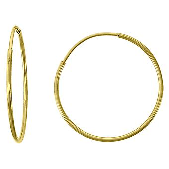 14k Yellow Gold Womens Polished Huggie Hoop 18mm Endless Closure Earrings Jewelry Gifts for Women
