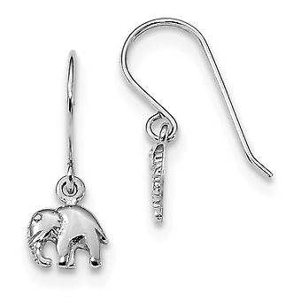 8.15mm 925 Sterling Silver Rhodium plated Polished Elephant Long Drop Dangle Earrings Jewelry Gifts for Women