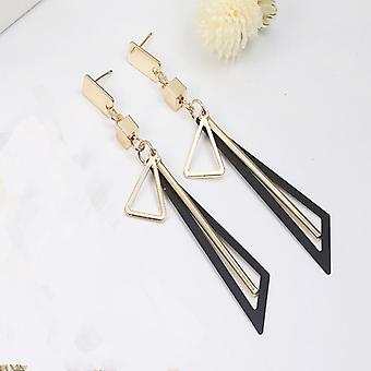 Boucles d'oreilles Triangle Tassel Drop en or/noir