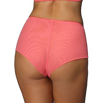 Nessa P2 Femmes-apos;s Koral Coral Pink Solid Colour Embroidered Knickers Panty Full Brief