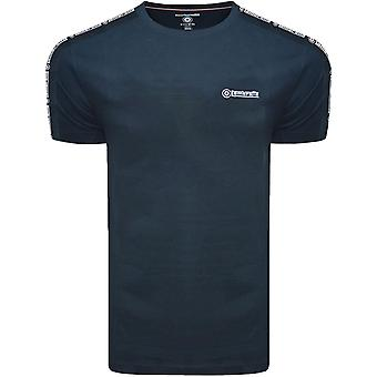 Lambretta Mens Taped Sleeve Cotton Crew Neck Casual T-Shirt Top Tee - Navy