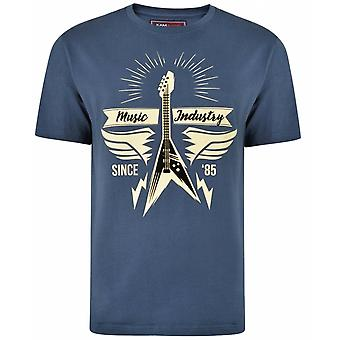 KAM Kam Music Industry Theme Print Tee Print With Flock Detail Over Chest