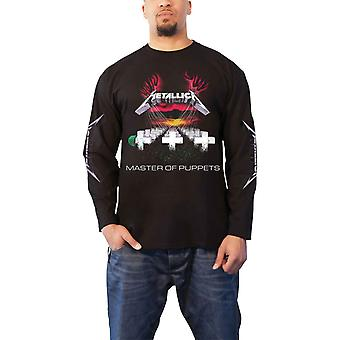 Metallica T Shirt Master of Puppets Band Logo Official Mens Long Sleeve