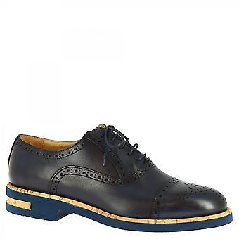 Men's handmade half brogues oxford shoes in dark blue calf leather