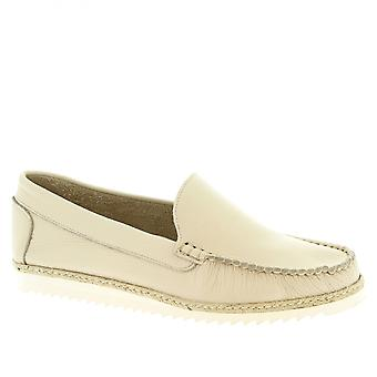 Leonardo Shoes Men's handmade slip-on loafers shoes in white calf leather