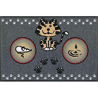 wash+dry Fußmatte Katzenmahlzeit 50 x 75 cm  Napfunterlage